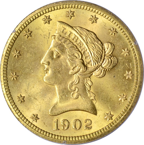 1902-S $10 LIBERTY HEAD GOLD PIECE - PCGS MS63 - 1st GENERATION RATTLER HOLDER