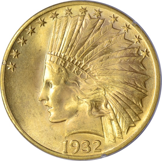 1932 $10 INDIAN HEAD GOLD PIECE - PCGS MS63 - 1st GENERATION RATTLER HOLDER