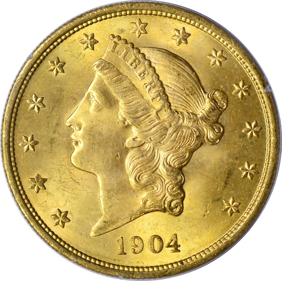 1904 $20 LIBERTY HEAD GOLD PIECE - PCGS MS64 - 1st GENERATION RATTLER HOLDER