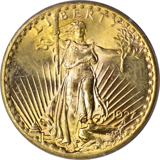 1927 $20 ST GAUDENS GOLD PIECE - PCGS MS63 - 1st GENERATION RATTLER HOLDER