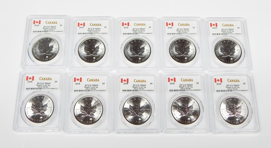 CANADA - TEN (10) 2018 1 OZ SILVER MAPLE LEAFS - PCGS MS69 FIRST STRIKE