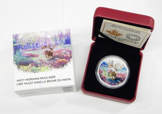 CANADA - 2015 $20 FINE SILVER MISTY MORNING MULE DEER - IN BOX with PAPERS