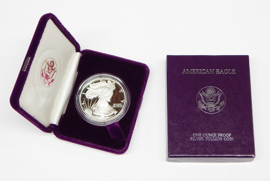 1986 PROOF SILVER EAGLE in BOX with COA