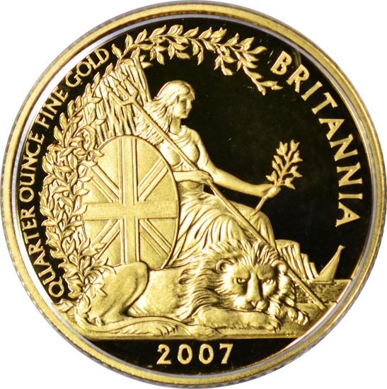 GREAT BRITAIN - 2007 25 POUND PROOF GOLD BRITANNIA - IN BOX with COA
