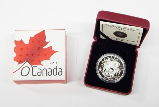 CANADA - 2013 $25 FINE SILVER O CANADA WOLF - IN BOX with PAPER
