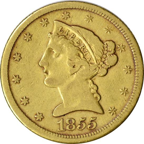 1855-D LIBERTY HEAD $5 GOLD PIECE