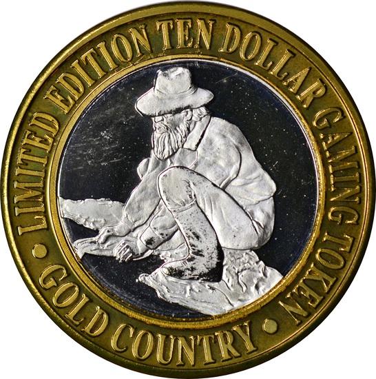 SILVER & BRASS $10 GAMING TOKEN - GOLD COUNTRY MOTOR INN, ELKO, NEVADA