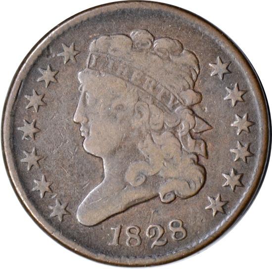1828 HALF CENT