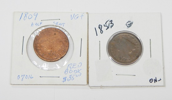 TWO (2) HALF CENTS - 1809 and 1853