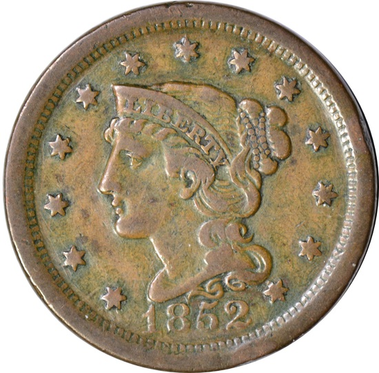 1852 LARGE CENT - ALTERED REVERSE