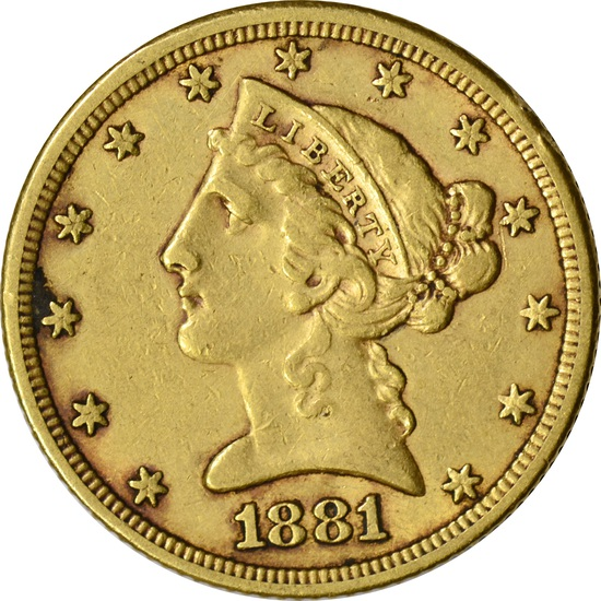 1881 LIBERTY HEAD $5 GOLD PIECE