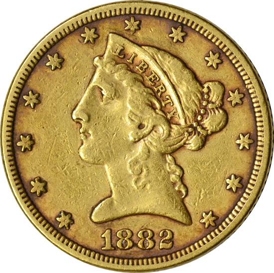 1882 LIBERTY HEAD $5 GOLD PIECE