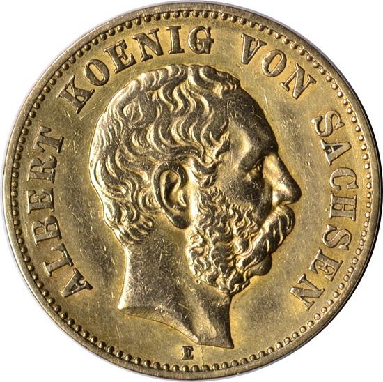 1874 GERMANY SAXONY GOLD 20 MARKS