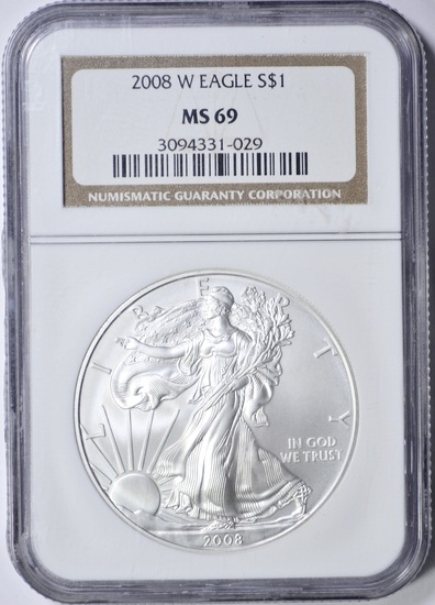 2008-W SILVER EAGLE - NGC MS69