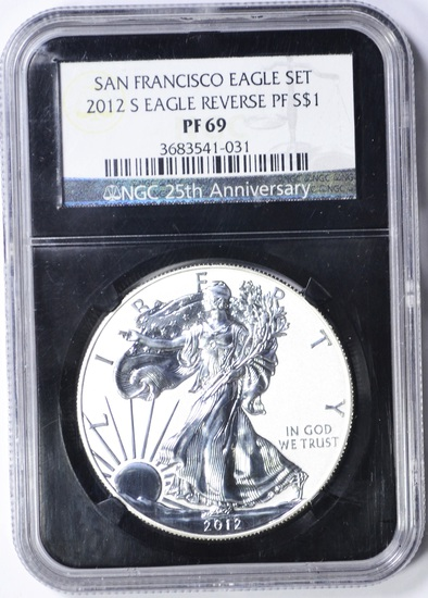 2012-S REVERSE PROOF SILVER EAGLE - NGC PF69