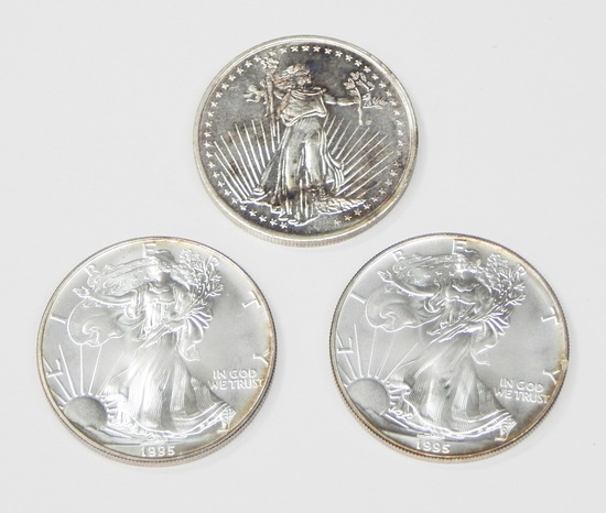 TWO (2) 1995 SILVER EAGLES and 1 oz SILVERTOWNE .999 SILVER ROUND