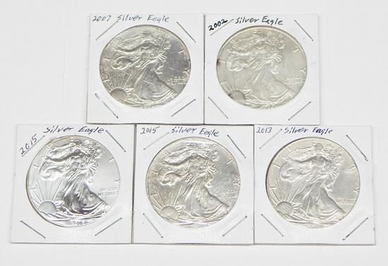 FIVE (5) SILVER EAGLES - 2002, 2007, 2013, (2) 2015