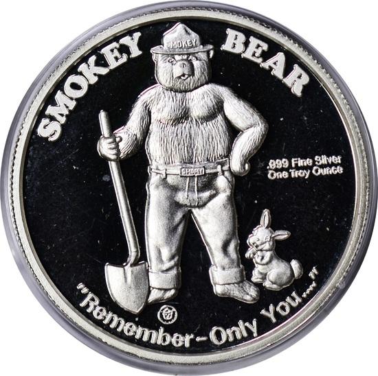 SMOKY BEAR 1 OZ .999 FINE SILVER ROUND