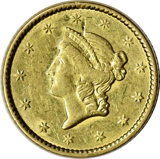 1850 LIBERTY HEAD $1 GOLD PIECE