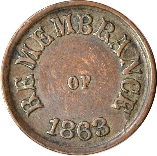 CIVIL WAR PATRIOTIC TOKEN - ONE COUNTRY - REMEMBRANCE of 1863