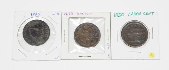 THREE (3) LARGE CENTS - 1825, 1850, 1853