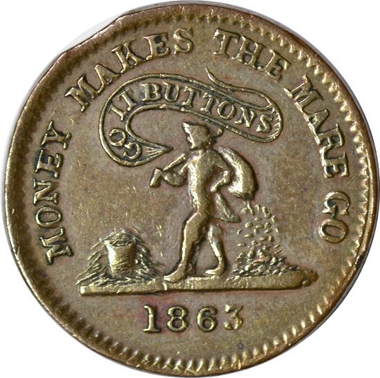 1863 CIVIL WAR TOKEN - MONEY MAKES THE MARE GO - UNITED STATES COPPER