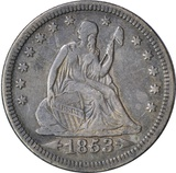 1853 ARROWS & RAYS SEATED LIBERTY QUARTER