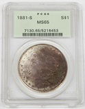 1881-S MORGAN DOLLAR - PCGS MS65 - DEEPLY TONED OBVERSE