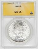 1882 MORGAN DOLLAR - ANACS MS65