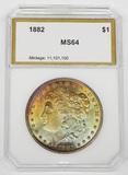 1882 MORGAN DOLLAR - PCI MS64 - RAINBOW TONING