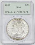 1883 MORGAN DOLLAR - PCGS MS64 - RATTLER HOLDER