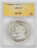 1883-S MORGAN DOLLAR - ANACS AU53