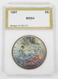 1887 MORGAN DOLLAR - PCI MS64 - RAINBOW TONING
