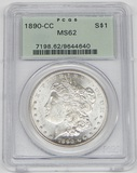 1890-CC MORGAN DOLLAR - PCGS MS62 - OLD GREEN HOLDER
