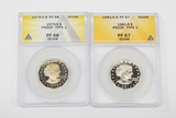TWO (2) PROOF SBA DOLLARS graded by ANACS