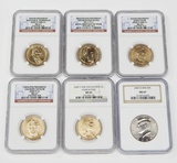 5 GRADED PRESIDENTIAL & NATIVE DOLLARS and 2005-D SMS KENNEDY HALF