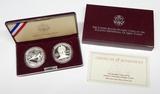 1995 ATLANTA OLYMPICS 2-COIN PROOF SILVER DOLLAR SET in BOX