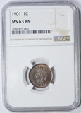 1901 INDIAN HEAD CENT - NGC MS63 BN