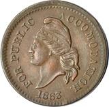 1863 CIVIL WAR PATRIOTIC TOKEN - FOR PUBLIC ACCOMODATION