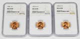 THREE (3) NGC GRADED LINCOLN CENTS - 1955, 1957-D, 1958-D