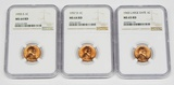 THREE (3) NGC GRADED LINCOLN CENTS - 1955-S, 1957-D, 1960 LARGE DATE