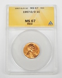 1957-D/D LINCOLN CENT - ANACS MS67 RED