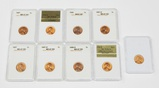 EIGHT (8) GRADED UNCIRCULATED WHEAT CENTS + (1) MEMORIAL CENT in HOLDER