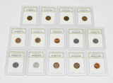 13 WHEAT CENTS & ONE MEMORIAL CENT in PLASTIC SLABS