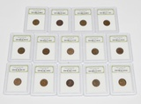 14 WHEAT CENTS in PLASTIC SLABS