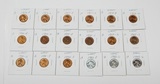 18 WHEAT CENTS in 2x2s - 1940-S to 1958-D