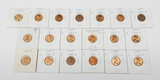 19 MOSTLY UNCIRCULATED WHEAT CENTS in 2x2s