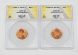 TWO (2) BROADSTRUCK LINCOLN CENTS graded by ANACS