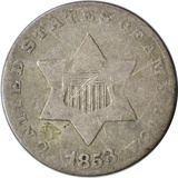 1853 SILVER THREE CENT PIECE