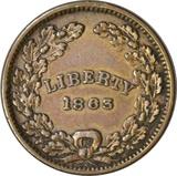 1863 CIVIL WAR PATRIOTIC TOKEN - UNION - LIBERTY